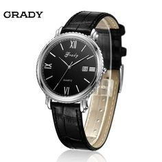(46.55$)  Watch here - http://aildc.worlditems.win/all/product.php?id=1918814161 - Grady New arrival men fashion & casual stainless steel case watches men sports leather band watches