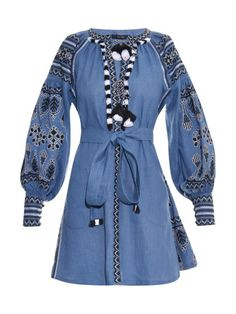 Demin blue Vyshyvanka Vita Kin style Embroidered Bohemian Linen Folk Embroidery mini Dress Boho Vita Kin Style. Sizes - XS-XXL 003