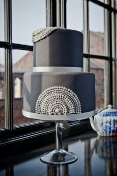 Pearls and grey by Claire Kemp Cake Studio