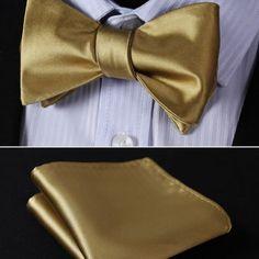 Elegantný hodvábny set - motýlik a vreckovka, v zlatej farbe