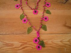 pink flower necklace turkish crochet oya