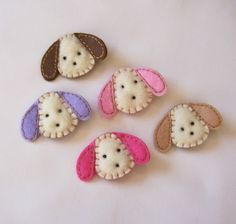 inspiration - Puppy Felt Hair Clips - You Pick 1 Clippie - Chocolate, Hot, Light Pink, Lavender, Khaki Dog Clippies - Cute every day clip. $3.25, via Etsy.