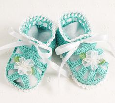Adorable Crocheted Aqua & White Sandal Baby Booties, $15 #baby