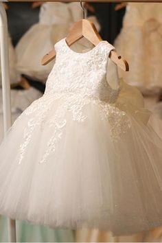 Cute Fairy Kids Wedding White Flower Girl Dress 529