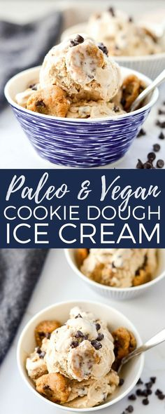 Vegan & Paleo Cookie Dough Ice Cream! A healthy & delicious dessert recipe absolutely loaded with chunks of cookie dough! Gluten/grain-free, dairy-free with no refined sugar! #cookiedough #icecream #paleo #vegan #glutenfree #grainfree #dairyfree #homemade #recipe via @joyfoodsunshine