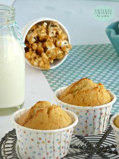 muffins de dulce de leche y palomitas. Pintando las nubes