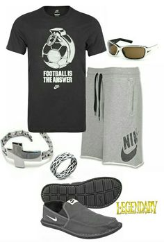 Men's fashion casual Nike outfit #football... Casual comfortable relaxing day or summer t shirt and shorts #nike #menFashion