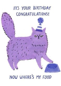 Hui Skipp - old grumpy cat - doodles - # Mür . Birthday Congratulations, Happy Birthday Cards, Birthday Greetings, Birthday Wishes, Birthday Quotes, Cat Birthday, It's Your Birthday, Crazy Cat Lady, Crazy Cats