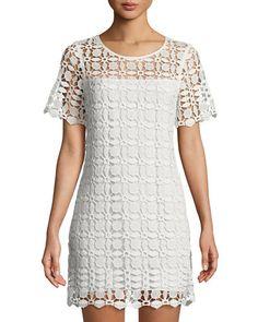 $128.0. LAUNDRY BY SHELLI SEGAL Dress Venise Crochet Illusion Shift Dress #laundrybyshellisegal #dress #c Short Sleeves, Short Sleeve Dresses, Little White Dresses, Laundry By Shelli Segal, Scalloped Hem, Lace Overlay, Crochet Lace, Latest Fashion Trends, Illusion