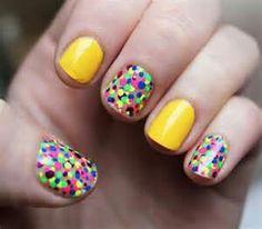 Yellow multicolor dots short nails design Simple Nail Art Designs, Cute Nail Designs, Acrylic Nail Designs, Cute Nail Art, Easy Nail Art, Cute Nails, Diy Nails, French Nails, Polka Dot Nails