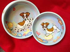 Jack Russell 6 and 8 Ceramic Dog Bowls for Food or Water 2 Piece Set Personalized at no Charge Signed by Artist Debby Carman ** You can get more details by clicking on the image. (This is an affiliate link) Elevated Dog Bowls, Raised Dog Bowls, Puppy Starter Kit, Ceramic Dog Bowl, Dog Water Bowls, Pet Cremation, Pet Urns, Maltese Dogs, Dogs Golden Retriever
