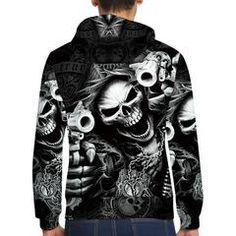 Punk 3D Skull Hoodie #skull #skullsforchange #hoodie #gun #blackandwhite