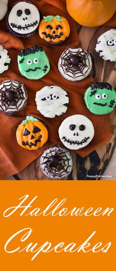 Perfectly spooky and delicious chocolate Halloween cupcakes decorated in five easy designs. Mummies, Frankensteins, skeletons, spiders and Jack O Lant… – Cupcake Halloween Donuts, Halloween Desserts, Spooky Halloween, Biscuits Halloween, Chocolat Halloween, Halloween Backen, Halloween Cupcakes Decoration, Halloween Torte, Pasteles Halloween