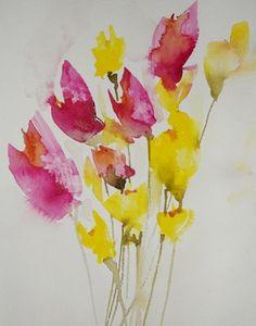 Saatchi Online Artist: Karin Johannesson; Watercolor, 2013, Painting Dreamy Poppies II