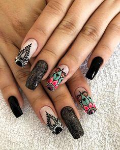 Creative Nail Designs, Creative Nails, Nail Art Designs, Luv Nails, Pretty Nails, Mandala Nails, Nails 2018, Feet Nails, Hair Skin Nails