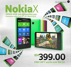 Nokia X now available in Malaysia   Nokia's first Android smartphone from Nokia X now available in Malaysia RM 399 - RM 50 value. The beautifully crafted Nokia X now on Android (AOSP v4.1.2) a tile-based user interface and options are running Fastlane.