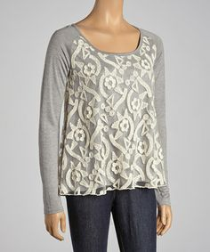 Take a look at this Gray Embroidered Top by Rain on #zulily today!