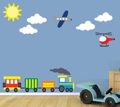 REUSABLE Airplane Train Wall Decal - Childrens Decals - B602WA. $68.00, via Etsy.