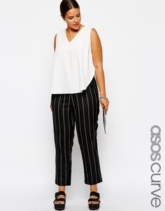 Shop ASOS CURVE Exclusive Peg Trouser In Pinstripe at ASOS. Office Outfits, Fall Outfits, Summer Outfits, Fashion Outfits, Asos Curve, Peg Trousers, Fashion Project, Plus Size Fashion For Women, Models