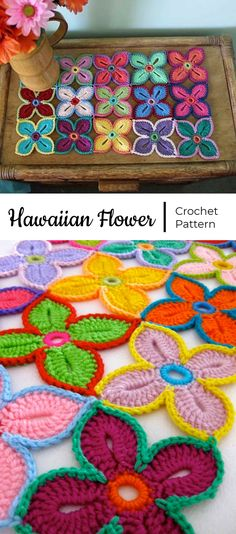 Crochet Hawaiian Flowers Crochet Hawaiian Flowers Learn the basics of how to needlework (generic ter Flower Motif, Crochet Flower Patterns, Crochet Flowers, Crochet Motif, Crochet Stitches, Knitting Patterns, Knit Crochet, Crochet Ideas, Crochet Squares Afghan