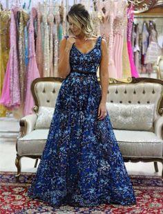 vestido de festa gode bordado