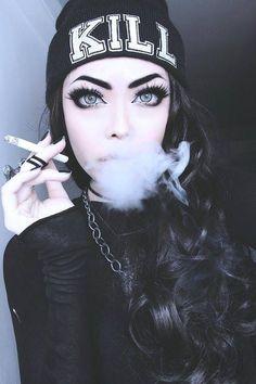 With the exception of the cigarette, beautiful Beauty Blogs, Goth Beauty, Dark Beauty, Women Smoking, Girl Smoking, Emo Girls, Cute Girls, Catty Noir, Gangster Girl
