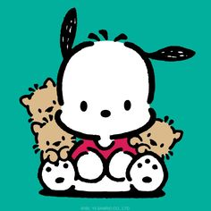 Pochacco with friends Panda Wallpaper Iphone, Panda Wallpapers, Hello Kitty Wallpaper, Cute Wallpaper Backgrounds, Cute Cartoon Wallpapers, Wallpaper Stickers, Hello Kitty Characters, Cute Cartoon Characters, Sanrio Characters