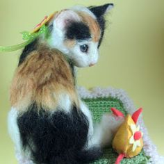 Needle Felted Calico cat by Robin Joy Andreae: Kiki