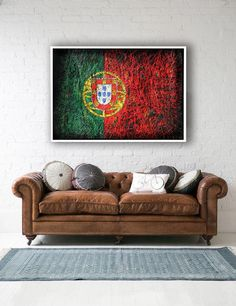 Portuguese Flag Hand-Painted Flag of Portugal Distressed