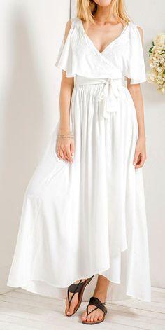 White Embroidery V Neck Ruffle Maxi Dress