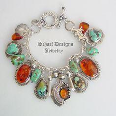 Royston Turquoise Amber Fred Harvey Era Dog Heart Squash Blossom Charm Bracelet