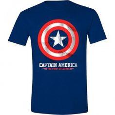 Captain America - Silver Shield Foil Printed T-Shirt - Navy