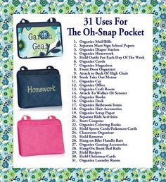 Try a few of these ideas to stay organized with the Oh Snap Pockets! www.mythirtyone.com/MHemmy