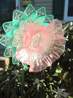vintage glass garden art plate flower by ADelicateTouch1 on Etsy