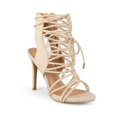 Women's Journee Collection Bexley Strappy Lace-up High Heels ($50) ❤ liked on Polyvore featuring shoes, sandals, nude, high heel sandals, nude sandals, lace up stilettos, strappy high heel sandals and nude strappy shoes