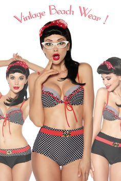 3 in1 RETRO Pinup Vintage Reversible High Waist Bikini Swimwear Swimsuit
