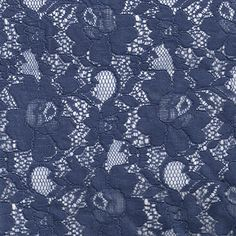 Navy Chic Pattern Vintage Cotton Floral Lace Fabric by the Yard, Wedding Lace Fabric, Bridal Lace Fabric - 1 Yard Style 163