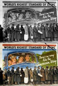 Awesome photoshop colorized photos The American Dream Colorized Historical Photos, Colorized History, Historical Pictures, Top Photos, Famous Photos, Margaret Bourke White, Cool Photoshop, Black And White Pictures, Black White