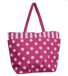 Maxi Bolsa de Praia com Estampa de Bolinhas - Poá - predominando a cor rosa pink.