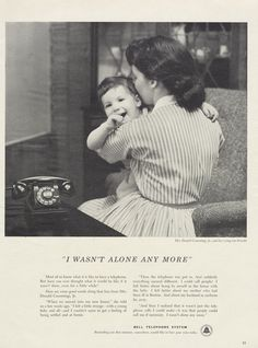 1955 Bell Telephone Ad Mother & Child Photo 1950s by AdVintageCom