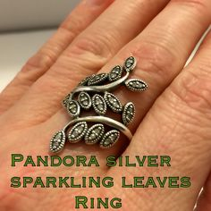 Authentic Pandora Silver Sparkling Leaves Ring  This is a beautiful Authentic Pandora Sterling Silver Sparkling Leaves CZ Ring. Size 7.75. Marked S925 ALE for Authenticity. Ring is in great pre-owned condition! I love the length of this ring! Would get a lot of compliments!! Also would be perfect to purchase as a gift for someone you love or to add to your own Pandora ring collection! Thanks so much for looking! I appreciate your interest! Have a blessed day!! I ship out same day! Please…