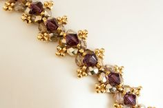 Crystal Crowns Beadwoven Seed Bead Bracelet in Amethyst Swarovski Crystals and Gold Fire Polished Beads - Beaded Bracelet - SALE