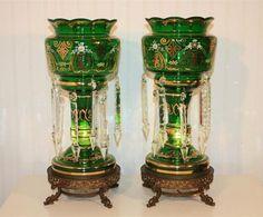 Antique Green Glass Mantle Lustre   Crystal w Serpent Feet