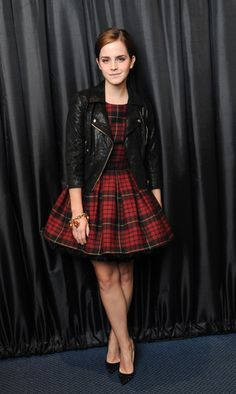 Emma Watson in Alexander McQueen tartan and leather.  Such a great look.