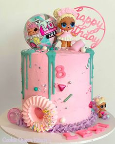 Doll Birthday Cake, Funny Birthday Cakes, 8th Birthday, Birthday Parties, Little Girl Birthday, Birthday Ideas, Lol Doll Cake, Surprise Cake, Doll Party