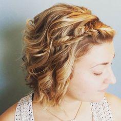 Short hair up style for this beautiful  bridesmaid!  #shorthairupdo #lakegenevawedding #braidedupdo #wiwedding #lgbride #braids #shorthair #texture #avedasalon @aveda