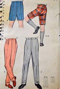 1950's plain mens shirts | ... Pattern Butterick 8813 Men's Bermuda Shorts Size 40 Uncut Complete