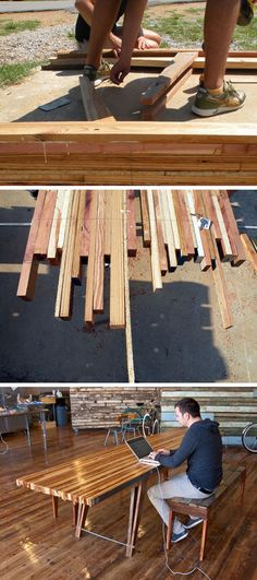 Wood Table Wood Scrap Table- just like the headboard…dad I see more projects in the futur… Furniture Projects, Wood Furniture, Home Projects, Furniture Design, Outdoor Furniture, Industrial Furniture, Into The Woods, Woodworking Plans, Woodworking Projects