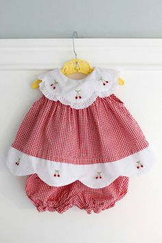 Months: Red Gingham Baby Outfit, Dress and Bloomer Set, Seersucker Gingham with White Scalloped Collar and Hem with Embroidered Cherries Baby Outfits, Little Dresses, Little Girl Dresses, Toddler Outfits, Kids Outfits, Girls Dresses, Vintage Baby Dresses, Baby Sewing Projects, Red Gingham