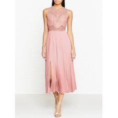 Three Floor Pop Of Peony Mesh Body Pleated Dress (£280) ❤ liked on Polyvore featuring dresses, pink, peony dress, pink mesh dress, pink dress, three floor dress and white day dress